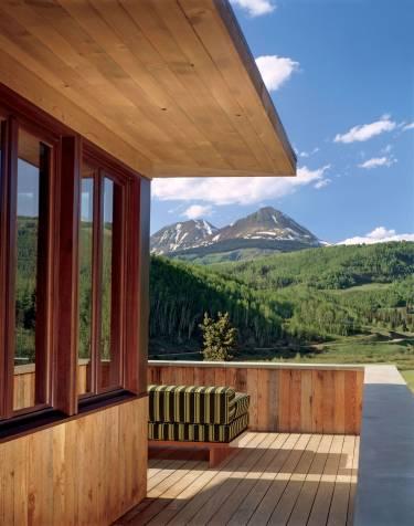 Pika House - Colorado - Exterior photo of house on balcony - Selldorf Architects