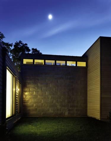 Wainscott House - Long Island - Exterior night photo of wall - Selldorf Architects