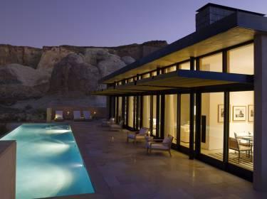 The Mesa at Amangiri - Utah - Exterior night photo of villa and pool - Selldorf Architects