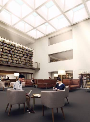 Clark Art Institute - Williamstown - Interior render of new reading room - Selldorf Architects