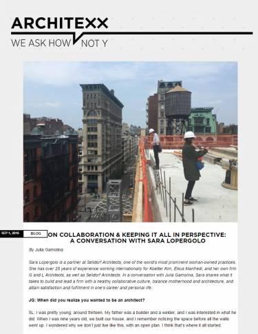 Architexx, Sara Lopgergolo, Selldorf Architects